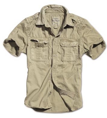 Košile RAW VINTAGE s krátkým rukávem KHAKI