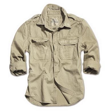 Košile RAW VINTAGE s dlouhým rukávem KHAKI