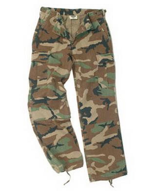 Kalhoty dámské US BDU R/S PREWASH WOODLAND
