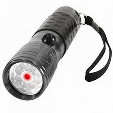 Svítilna 8 LED diod + LASER HLINÍK ŠEDÁ