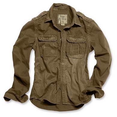 Košile RAW VINTAGE s dlouhým rukávem HNÌDÁ