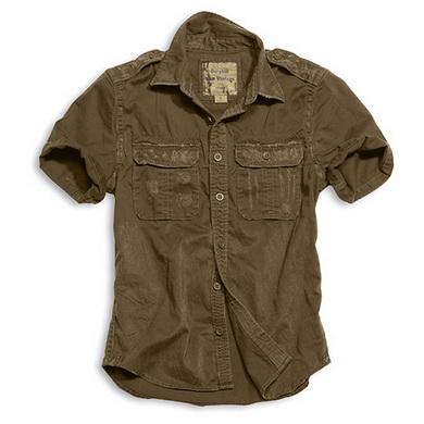 Košile RAW VINTAGE s krátkým rukávem HNÌDÁ