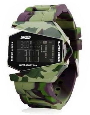 Módní LED hodinky bombardér - Camuflage army green