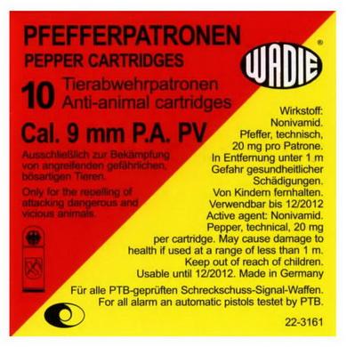 Náboj pepøový P.A. PV PFEFFER 9 mm 10 ks pistole