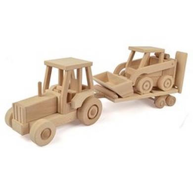 Døevìný model traktor s pøívesem a UNC