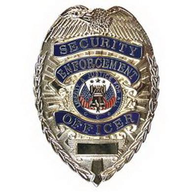 Odznak DELUXE SECURITY ENFORCEMENT OFFICER STØÍBRNÝ
