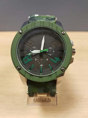 Velké hodinky v ARMY stylu - tmavì zelené maskování