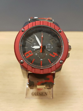 Velké hodinky v ARMY stylu - èerveno šedé maskování