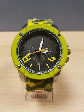 Velké hodinky v ARMY stylu - žluto zelené maskování