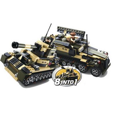 Stavebnice 8v1 ARMY vozidla, èlun, helikoptéra