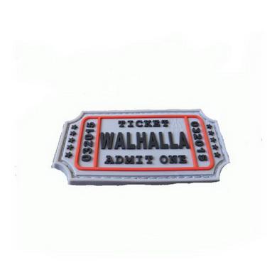 Nášivka WALHALLA TICKET velcro plast ŠEDÁ