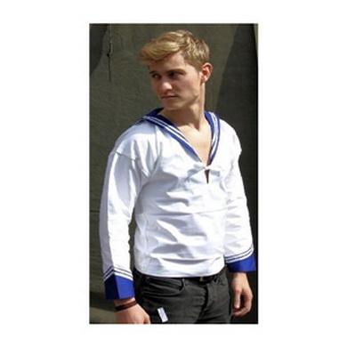 Košile ITALSKÁ námoønická BÍLÁ s MODRÝM límcem nová