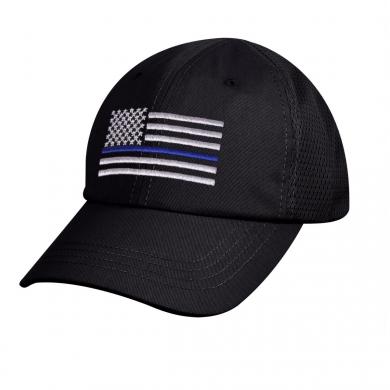 Èepice US vlajka SÍ�OVANÁ s modrou linkou ÈERNÁ