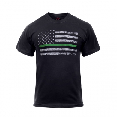 Triko THIN GREEN LINE US vlajka ÈERNÉ