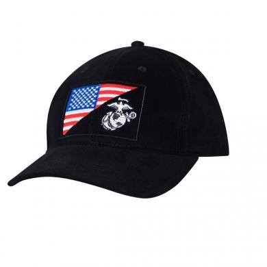 Èepice s vyšitým znakem U.S.M.C. a US vlajky ÈERNÁ