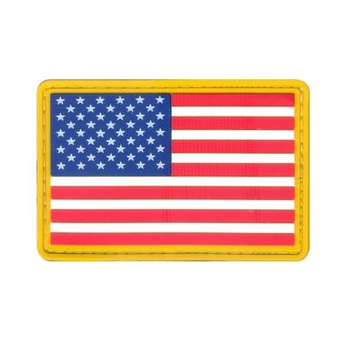 Nášivka US vlajka velcro BAREVNÁ žlutý lem