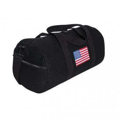 Taška s barevnou vlajkou USA plátìná sportovní ÈERNÁ