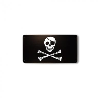 Cedule plechová pirátská lebka a zkøížené hnáty