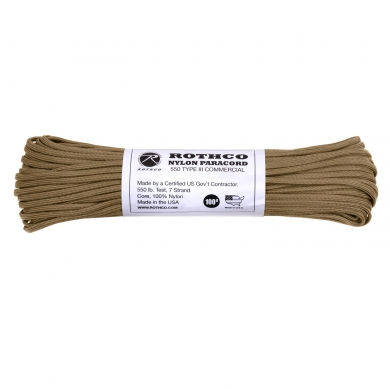 Šòùra PARACORD nylon 550LB 30m 4mm COYOTE BROWN