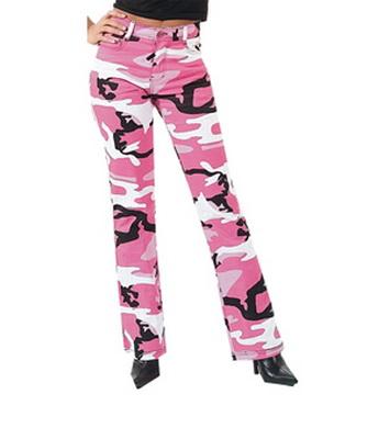 Kalhoty dámské STRETCH FLARE PINK CAMO