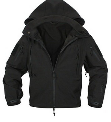 Bunda TACTICAL softshell s kapucí ÈERNÁ
