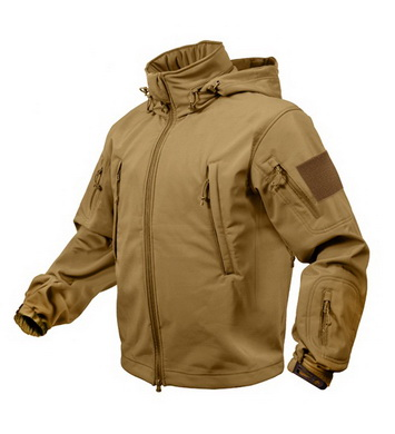 Bunda TACTICAL softshell s kapucí COYOTE
