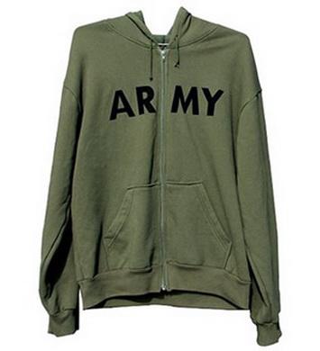 Mikina s kapucí US ARMY se zipem OLIV
