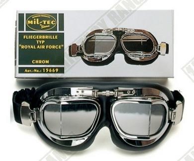 Brýle letecké typ RAF - chrom