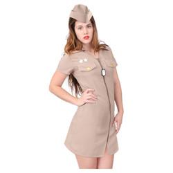 ROTHCO Šaty na zip krátký rukáv + lodička KHAKI