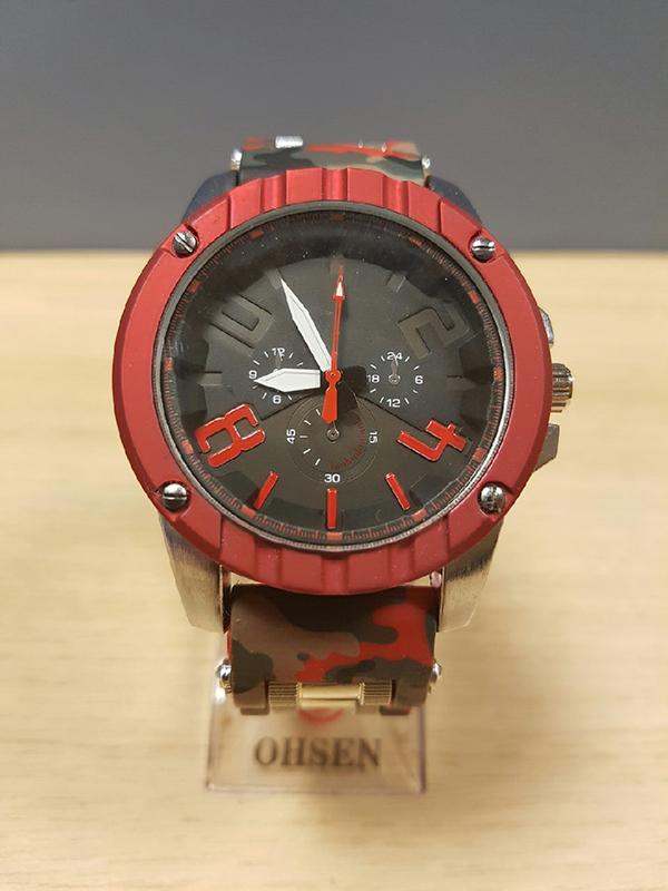 88bb6b663dd Velké hodinky v ARMY stylu - červeno šedé maskování - OSTATNÍ - Army ...