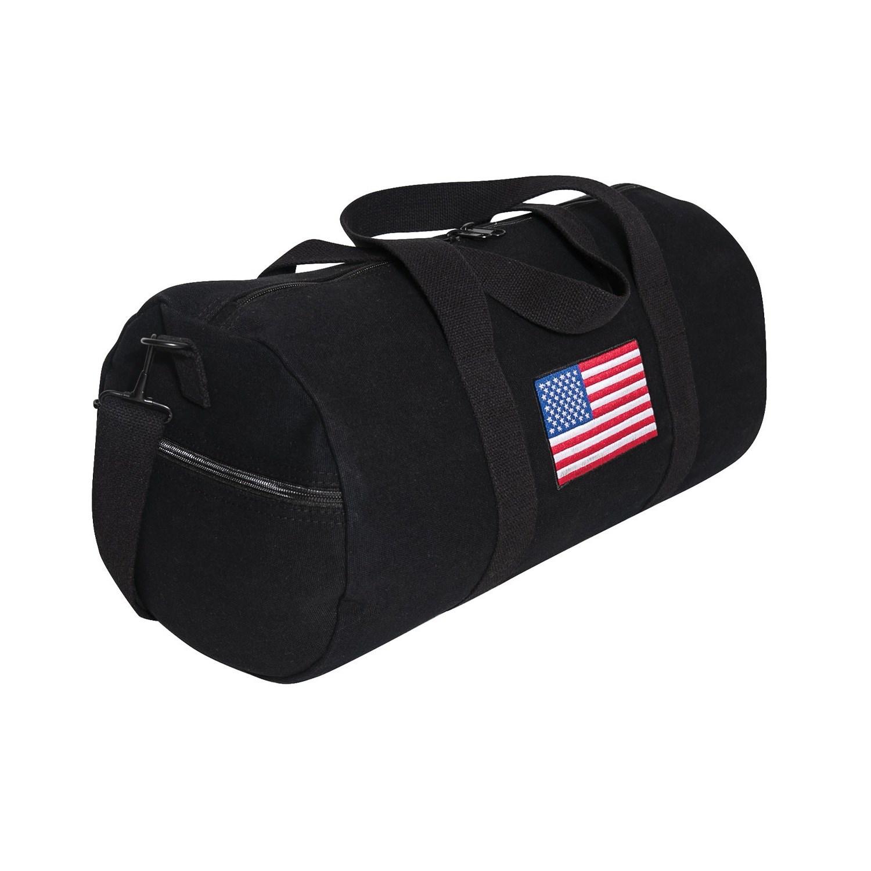 Taška s barevnou vlajkou USA plátìná sportovní ÈERNÁ - zvìtšit obrázek