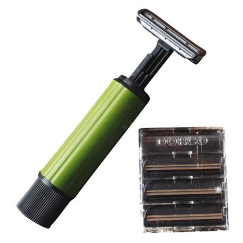 Strojek holící skládací 1 + 4 náhradní žiletky - zvìtšit obrázek